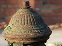 washington morgensonne auf rostigen hydranten