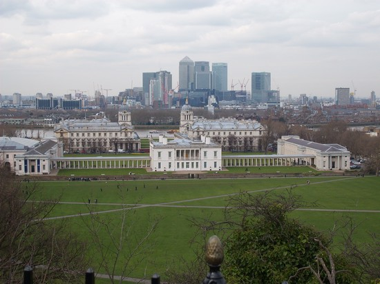 Foto Osservatorio Di Greenwich Panorama Su Canary Wharf A