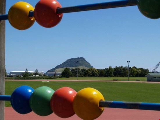 Mount Maunganui from Tauranga Domain playground.