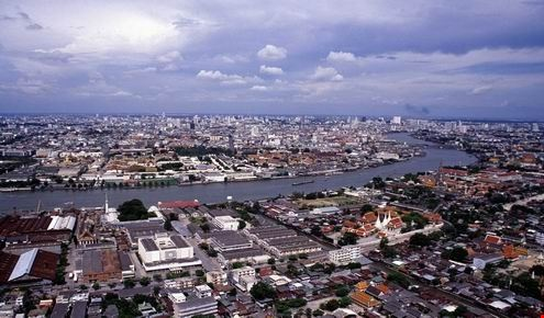 aerial view of Bangkok and the Chao Phray