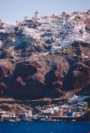 panorama dell'isola di santorini dal mare